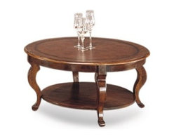 Basett Mirror - Pontevecchio Round Cocktail Cameo Legs - The Pontevecchio Round Cocktail Table (Mahogany & Leather Top Finish) has the following features: