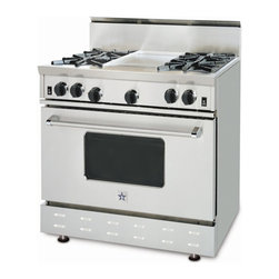 "36"" BlueStar RNB Gas Range - Stainless Steel 36"" RNB Gas Range that has 4 Top Burners and a Griddle"
