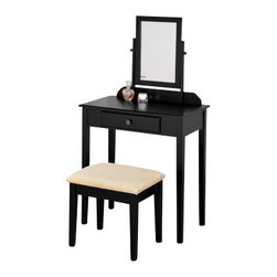 """Asia Direct - Black Finish Wood 3-Piece Bedroom Vanity Set with Mirror and Stool - Black finish wood 3-piece bedroom vanity set with mirror and stool. Vanity includes the vanity table with drawer, mirror and stool with upholstered seat. Vanity measures 28"""" x 16"""" x 50"""" H. Some assembly required. Also available in white and espresso."""