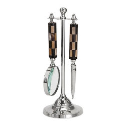 "Imax - Elegant Mother of Pearl Desk Set with Gift Box - *Dimensions: 12""h x 3.75""w x 3.75"""