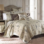 Levtex, Llc - Pasaro Quilt - Inspired by antique botanical and bird illustrations, the unique Pasaro quilt fills your bedroom with a smart, natural look you'll love coming home to. Soothing hues of charcoal and cream on pre-washed fabric enhance the vintage look of this bedding.
