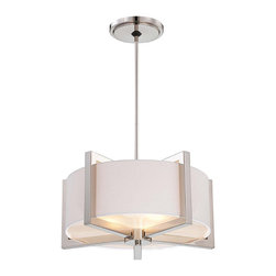 """Frontgate - Metropolitan 3-Light Pendant - Frontgate - Provides ample illumination while making a brilliant accent for a dining room, hallway, bedroom, or foyer. Polished nickel finish. UL listed for dry locations. Includes 72"""" lead wire. Takes three maximum 100-watt or equivalent medium base bulbs. Bring some warm modern style to your home with the Metropolitan 3-light Pendant. The tempered glass diffuser beneath the white fabric shade gives a soft, luminous glow. This beautiful piece works with a variety of decor schemes - from transitional to modern to classic.  .  .  .  .  ."""