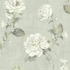 Bainbridge Linen Blossom Wallpaper in Seafoam - Bainbridge Wallpaper Collection from AmericanBlinds.com