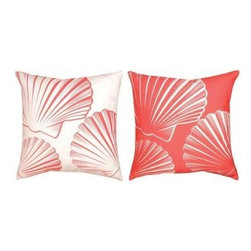 Pair of Red / White Scallop Shell Reversible Indoor / Outdoor Throw Pillows - This pair of 18 inch by 18 inch woven throw pillows adds a wonderful accent to your home or patio. The pillows have ClimaWeave weatherproof exteriors, that resist both moisture and fading. The pillows have the same print, of scallop scells, on both sides, but the red and white colors are reversed on the back side. They have 100% polyester stuffing. These pillows are crafted with pride in the Blue Ridge Mountains of North Carolina, and add a quality accent to your home. They make great gifts for sealife lovers.