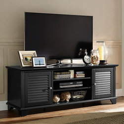 Crosley - Black Palmetto Low-Profile TV Stand - Revitalize your entertainment space with this handsome TV stand that features a solid hardwood construction, rich hand-rubbed veneer, several adjustable shelves for storage and the capability to hold a flat-screen up to 60'' tall.   59.75'' W x 22'' H x 18'' D Wood Assembly required Imported