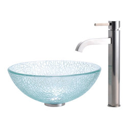 """Kraus - Kraus C-GV-500-14-12mm-1007SN Broken Glass 14"""" Vessel Sink and Ramus Faucet - Add a touch of elegance to your bathroom with a glass sink combo from Kraus"""