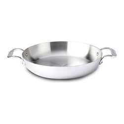 All-Clad - All-Clad Tri-Ply Stainless Steel 11-in. Low Casserole - 48118 - Shop for Casseroles from Hayneedle.com! With its low depth and expanded cooking surface area the All-Clad Tri-Ply Stainless Steel 11-in. Low Casserole is an ideal choice for preparing gratins casseroles and side dishes. You'll enjoy its even heating and excellent conductivity products of All-Clad's tri-ply construction in which stainless steel layers are bonded to an aluminum core that covers the pan's bottom and extends into the sides. The interior starburst finishing resists food sticking and the stainless steel cooking surface won't react to food. The dual riveted side handles are hallmarks of All-Clad quality providing a sturdy secure well-balanced grip for transitioning your finished dish from stovetop to table or even to the oven where this versatile casserole pan is safe up to 800 F.About All-CladFounded in 1971 in Canonsburg Pennsylvania All-Clad Metalcrafters produces the world's finest cookware in its Southwestern Pennsylvania rolling mill using the same revolutionary processes that they introduced forty years ago. Today All-Clad is the only bonded cookware that's handcrafted by American craftsmen using American-made metals. Originally founded to meet the highest standards of professional chefs All-Clad has become the premier choice of cookware enthusiasts of all experience levels from world-class chefs to passionate home cooks in everyday American kitchens.The unsurpassed quality and performance of All-Clad cookware is derived from its innovative roll bonding process which uses a proprietary recipe of metals. Cladding is applied not just to the bottom but also up the sides of each All-Clad cooking vessel providing outstanding heat distribution and reliable cooking results. All-Clad cookware is hand-inspected at every stage of the manufacturing process and is famous for the uncompromising quality that's evident in every detail from its impeccable balance in your hand to its meticulo
