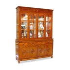 """China Furniture and Arts - 60in Rosewood Longevity Motif China Cabinet - A grand curio cabinet to display your treasured collectibles. Hand-carved Longevity emblems decorated the entire cabinet. Made of solid rosewood with traditional joinery techniques by artisans in China. Mirror, lights, and adjustable shelves for the upper cabinet. Two big cabinets and four drawers in the lower portion providing ample storage space for your convenience. Hand-applied natural rosewood finish. Also available in 72""""L."""