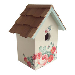 "Home Bazaar - Printed Standard Birdhouse - Peony - Cream Background - Fully functional, topped with western red cedar and decorated with a peony print motif and matching roof line, this standard nesting box can be fixed to a fence post with its pre-installed key-hole hardware. Item Dimensions: 9.25"" H x 6.75"" W x 5.5""D."