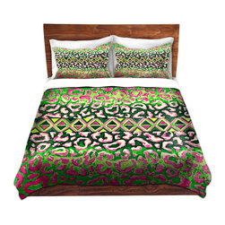 DiaNoche Designs - Duvet Cover Microfiber by Julia Di Sano - Leopard Trail Pink Green - DiaNoche Designs works with artists from around the world to bring unique, artistic products to decorate all aspects of your home.  Super lightweight and extremely soft Premium Microfiber Duvet Cover (only) in sizes Twin, Queen, King.  Shams NOT included.  This duvet is designed to wash upon arrival for maximum softness.   Each duvet starts by looming the fabric and cutting to the size ordered.  The Image is printed and your Duvet Cover is meticulously sewn together with ties in each corner and a hidden zip closure.  All in the USA!!  Poly microfiber top and underside.  Dye Sublimation printing permanently adheres the ink to the material for long life and durability.  Machine Washable cold with light detergent and dry on low.  Product may vary slightly from image.  Shams not included.