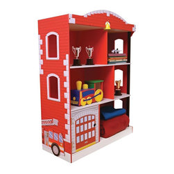 """KidKraft - Kidkraft Kids Children Home Indoor Bedroom Furniture Firehouse Bookcase - With its bright colors and adorable features, our Fireman Bookcase is the perfect storage accessory for any young boy's bedroom. Dimension: 28.25""""Lx 12.25""""Wx 38""""H"""