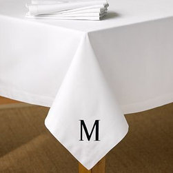 Caterer's Tablecloth 90 diam., White - Sewn of pure cotton twill in classic white, our tablecloth and throw create an elegant, tailored backdrop for grand affairs and intimate gatherings alike. Made of pure cotton. Machine wash. Monogramming is available at an additional charge. Monogram will be placed at one corner of the rectangular or square tablecloth, at one end of the oval tablecloth, and along the border of the round tablecloth. Catalog / Internet Only. Imported.