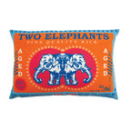 "KOKO - Rice Pillow, Two Elephants Print, 13"" x 20"" - The colors in this pillow make Basmati rice seem glamorous! You'll love the fresh and clever take on this vintage print. The charming elephants would make an eclectic addition to your living room."