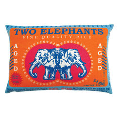KOKO - Vintage Rice Sack Pillow, Elephant - The colors in this pillow make Basmati rice seem glamorous! You'll love the fresh and clever take on this vintage print. The charming elephants would make an eclectic addition to your living room.