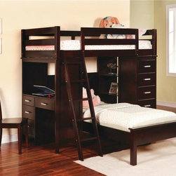 Coaster - Workstation Twin Bunk Bed - Includes ladder and full rails. Chair not included. Mattress sold separately. Twin over twin bunk bed. Cappuccino finish. Made from solid wood. Requites two max 9 in. thick mattresses. 85.5 in. L x 43.85 in. W. Casual style. Built-in side desk with drawer storage. Shelving next to bottom bunk. Built-in chest with drawers. Warranty. Bunk Bed Warning. Please read before purchase.. NOTE: ivgStores DOES NOT offer assembly on loft beds or bunk bedsStorage, versatility, and comfort are combined handsomely in this workstation twin bunk bed. Your child will have the ability to study in a comfortable environment, display decorative items and bedside essentials on the shelving, and stow favorite wardrobe pieces or toys in the chest-like drawers! This workstation twin bunk bed will bring functionality and charming designs to your child's bedroom.