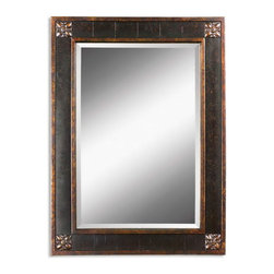 "Uttermost - Uttermost 14156 B  Bergamo Vanity Mirror - Frame features a distressed chestnut brown finish with mottled black undertones, gold leaf details and a light tan glaze. mirror has a generous 1 1/4"" bevel."