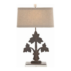 """Arteriors - Arteriors Home - Oakley Table Lamp - DR12018-654 - Arteriors Home - Oakley Table Lamp - DR12018-654 Features: Oakley Collection Floor LampIron FinishIron in Material lamp bodyNatural linen shade / Cotton lining / 1"""" trim in Shade materialOn / Off dial in Switch typeA - E26, on / off in Socket typeHand crafted. UL and CUL listed. 1"""" Acrylic cube in Finial7"""" in Harp size8.5"""" H x 9"""" - 15"""" W x 10"""" - 16"""" D in ShadeAccommodates 100W max A19 Incandescent bulbs not included. Wired for 110V - 120V Some Assembly Required. Dimensions: 16"""" W X 10"""" D X 27"""" H"""