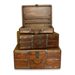 Interlude - Amir Travel Trunks - Collector or traveler, you'll relish these handmade wood and hammered metal trunks. From the burnished bronze handles and latches to the warm chestnut finish, this trio of trunks would be equally at home storing blankets in an uptown loft or displaying vintage finds in rustic cabin setting.