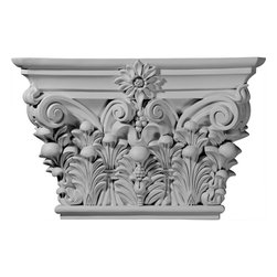 "Ekena Millwork - Acanthus Leaf Capital(Fits Pilasters up to 11 3/4""W x 2""D) - 24 1/8""W x 15 7/8""H x 6 3/4""D Acanthus Leaf Capital (Fits Pilasters up to 11 3/4""W x 2""D). Our appliques and onlays are the perfect accent pieces to cabinetry, furniture, fireplace mantels, ceilings, and more. Each pattern is carefully crafted after traditional and historical designs. Each polyurethane piece is easily installed, just like wood pieces, with simple glues and finish nails. Another benefit of polyurethane is it will not rot or crack, and is impervious to insect manifestations. It comes to you factory primed and ready for your paint, faux finish, gel stain, marbleizing and more."