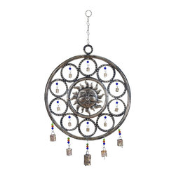 Woodland Imports - Celestial Style Sun Face Metal Wind Chimes Bronze Bells Home Patio Decor 26756 - Celestial style smiling sun face circle pattern metal wind chimes in antiqued bronze with bells and colorful beads decor