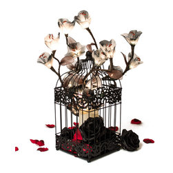 The Firefly Garden - Grey is the New Red - Grey is the new Red is a bold blend of illuminated tulips in shades of grey with decorative black roses and red rose petals. Featured in a birdcage, this is a playful, alternative gift for Valentine's Day or an Anniversary.