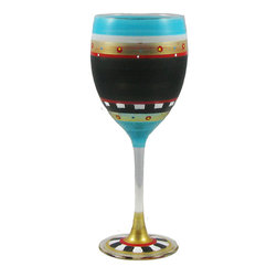 Golden Hill Studio - Mosaic Chalk Wine Glass - A more pleasing palette you'd be hard-pressed to find. This artistic mix of dramatic dark with brilliant primary colors is the perfect combination to decorate a distinctive wine glass. Each one is hand-painted in delicate patterns that can only enhance the experience of your favorite vintage on your own palate.