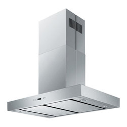 """Cavaliere - Cavaliere SV198Z-SPI36 36; Island Mount Range Hood - Mounting version - Island Mounted860 CFM centrifugal blowerThree-speed mechanical, soft-touch push button control panel. Four 35W halogen lights (Type: GU-10)Aluminum multi-layers micro-cell dishwasher-friendly grease filter(s)6"""" round duct vent exhaust and back draft damperConvertible to duct-free operation (requires optional charcoal filter)Machine crafted stainless steel (brushed finish)Telescopic flue accommodates 8ft to 9ft ceilings (optional flue extension available for up to 12ft ceiling)Full Seamless Stainless SteelFor residential use only, one-year limited factory warranty"""