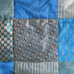 Blue Sari Brocade Indian Quilt