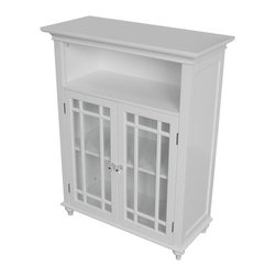 """Elegant Home Fashions - Neal Double Door Floor Cabinet - The Neal bath furnishings are an attractive addition to any bath dcor. Add style and storage to your bath with these refreshing furnishings! Pieces have a natural/white finish and are made from MDF. Features: -Floor cabinet. -Neal collection. -White. -Includes two doors. -Overall dimensions: 34"""" H x 26.5"""" W x 12"""" D."""