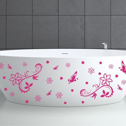 StickONmania - Bathtub Design Decal #1 - These decals come with two of each element mirrored, you choose how to place them.A vinyl decal sticker that lets you choose how to decorate. Decorate your home with original vinyl decals made to order in our shop located in the USA. We only use the best equipment and materials to guarantee the everlasting quality of each vinyl sticker. Our original wall art design stickers are easy to apply on most flat surfaces, including slightly textured walls, windows, mirrors, or any smooth surface. Some wall decals may come in multiple pieces due to the size of the design, different sizes of most of our vinyl stickers are available, please message us for a quote. Interior wall decor stickers come with a MATTE finish that is easier to remove from painted surfaces but Exterior stickers for cars,  bathrooms and refrigerators come with a stickier GLOSSY finish that can also be used for exterior purposes. We DO NOT recommend using glossy finish stickers on walls. All of our Vinyl wall decals are removable but not re-positionable, simply peel and stick, no glue or chemicals needed. Our decals always come with instructions and if you order from Houzz we will always add a small thank you gift.