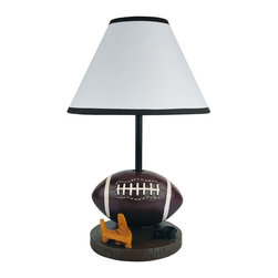 ORE International - Football Table Lamp - Requires 1 40W bulb (bulb not included). Ball and tee accent. Cone shape shade. Black trim on top and bottom of the shades. Polynesian base. Brown finish. 10 in. L x 10 in. W x 15 in. H (6 lbs.)Ideal for Kid's bedroom. Bring a playful spirit to your favorite sports fan's decor with this football themed accent lamp. Perfect for a bedroom or rec room decor.