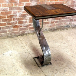 Custom Fabricated Steel Base Side Table - http:www.ecustomfinishes.com