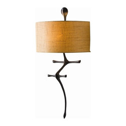 Arteriors - Gilbert Sconce, Bronze Iron - Truly a wall sculpture, this bronze iron sconce has a textured linen half shade. Be sure to position it so you can show off its distinct profile. One light.  This product is appropriate for an interior or exterior location that is subject to condensation or moisture such as a bathroom, indoor pool, or covered patio.