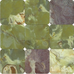 """Marbleville - Dark Green Onyx 4"""" x 4"""" Tumbled Square Pattern Floor and Wall Tile - Premium Grade Dark Green Onyx 4"""" x 4"""" Square Pattern Tumbled Finish Mosaic is a splendid Tile to add to your decor. Its aesthetically pleasing look can add great value to any ambience. This Mosaic Tile is made from selected natural stone material. The tile is manufactured to high standard, each tile is hand selected to ensure quality. It is perfect for any interior projects such as kitchen backsplash, bathroom flooring, shower surround, dining room, entryway, corridor, balcony, spa, pool, etc."""