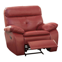 Homelegance - Homelegance Wallace Leather Glider Reclining Chair in Red - The spirited color offerings of the Wallace collection makes this group a fun addition to your home's living room. Offered in red or black bonded leather match, each piece is the ultimate expression of your personality. Building onto to the look of the group is comfort and function. Each piece features tufting that provides support and style along with a reclining mechanism. Both the sofa and love seat feature dual reclining while the chair features not only a reclining mechanism but glider function as well.