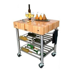 John Boos - Wine Cart w Maple End Grain Top - Includes stainless steel towel bar and locking casters. Food service grade stainless steel base and double wine rack shelving system. Electrical outlet strip recessed underneath block. Maple end grain top. 24 in. L x 5 in. W x 30 in. H (150 lbs.)
