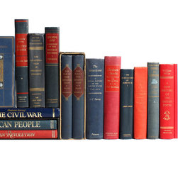 Booth and Williams - Consigned Red/Blue American History Library, Set of 15 - Red & Blue American History Library, S/15. Various authors and publishers: 1892-1976. Vintage and antique volumes in muted red and blue tones highlight the history of America, perfect for reading and decor.