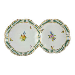 Lavish Shoestring - Consigned German Porcelain Bowls with Flower & Butterfly Enameled Decoration - This is a vintage one-of-a-kind item.