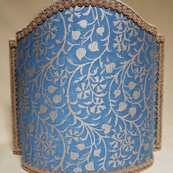 Fortuny Fabric Granada in Blue & Silvery Gold Half Lampshade - This pretty lampshade is handmade using Mariano Fortuny handprinted fabric - Granada pattern - in blue & silvery gold, finished with gold lurex trim