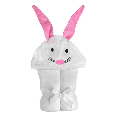 """Yikes Twins - Baby Bunny Hooded Towel - This baby bunny will keep your infant snug and warm after the bath. The 100% cotton terry is pure white, while the adorable bunny features are embroidered and appliqued in pink, black and white. Suitable for children ages birth to 2yrs.  Towel size 27""""x51"""", hood size 9""""x 7"""". Machine wash."""