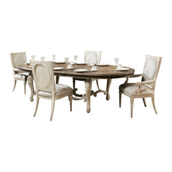 American Drew - American Drew Jessica McClintock Boutique 6 Piece Oval Dining Room Set - Belongs to Jessica McClintock Boutique Collection by American Drew, White Veil Finish, Ornate Style, Oval Table Top Shape, Revival Table Top, White Veil Table Base, 224 Leaves, Extends to 136 , Dining Table 1, Side Chair 4, China 1