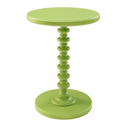 Powell Furniture - Spindle Table in Green - Round edges and classic style. Perfect for adding a pop of color to any room. Sturdy, strong and durable. Made from MDF with a solid wood post and veneers. Minimal assembly required. 17 in. Dia. x 22 in. H (15 lbs.)The Green Round Spindle Table features a bright, smooth finish and a trendy, stack designed base. Sized perfectly to sit next to your favorite chair or bedside, the table provides enough space for a lamp or to accommodate household items. A trendy, functional addition to your decor.