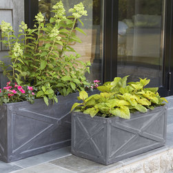 Classic Trough Polanters - Strong fiberclay containers for creating an amazingly lush garden. Lightweight material naturally absorbs salts and minerals which ages the finish over time.