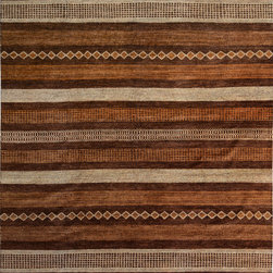 "ALRUG - Handmade Chocolate Oriental Gabbeh Rug 8' 2"" x 10' 7"" (ft) - This Afghan Gabbeh design rug is hand-knotted with Wool on Cotton."
