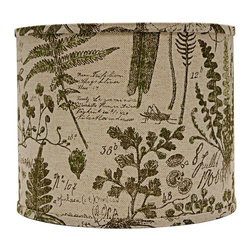 """Lamps Plus - Themed Cedar Moss Woodlands Drum Lamp Shade 14x14x11 (Spider) - This drum lamp shade features a cotton exterior with renderings of cedar and moss and a chrome spider fitter for a touch of shine. An appealing accent shade to dress up a floor or table lamp. The correct size harp is included free with this purchase. Drum lamp shade. Cotton exterior. Cedar and moss woodland design. Spider fitter.  Unlined. Correct size harp included. 12"""" across the top. 14"""" across the bottom. 11"""" high.  Drum lamp shade.  Cotton exterior.  Cedar and moss woodland design.  Spider fitter.  Unlined.  Correct size harp included.  14"""" across the top.  14"""" across the bottom.  11"""" high."""