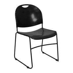 Flash Furniture - Hercules High Density Stack Chairs Banquet Ch - Injection molded textured back and seat. Carrying handle for easy movement. Front cross brace support. Sled base. Non skid floor glides. Stacks thirteen chairs high on ground. Stacks forty high on stack chair dolly. Warranty: 2 year limited. Made from high impact polypropylene. Non fading black finish. Assembly required. Back: 17.62 in. W x 15.5 in. H. Seat: 17.63 in. W x 17.37 in. D. Seat Height: 17 in.. Overall: 20.75 in. W x 19.5 in. D x 31 in. H (14 lbs.)