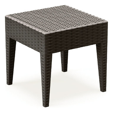 Compamia - Miami Square Resin Side Table Brown - Miami woven-wicker-looking square side table brown. Wickerlook resin is a natural looking un-woven one piece furniture technology. No metal parts to rust, no moving parts that can break. Made for commercial durability. Never unravels. UV treated. Made for outdoors. Brown.