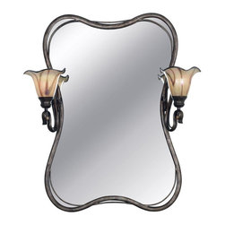 Kenroy Home - Kenroy Home Inverness Vanity Mirror Light - 29W in. Tuscan Silver - 90890TS - Shop for Bathroom Mirrors from Hayneedle.com! For all-in-one function and style in your bathroom look no further than the Inverness 2 Lt. Vanity Mirror. The gracefully curved shape of the mirror is accentuated by the unique swooping frame and two side sconces. Each sconce has an up-mounted fluted art glass shade with a colorful swirl pattern over a cream base to softly diffuse the light. Your bathroom will be warm and welcoming yet bright enough to primp for your day. The mirror frame and metal elements on the sconces are finished in a gleaming Tuscan silver finish. This mirror would also work well in your foyer so you can do one last check before you head out the door.About Kenroy HomeEmployee-owned Kenroy Home creates a large range of lighting and home decor products. Having recently purchased Hunter Lighting Group Kenroy Home is now positioned to expand their product lines and take their customer focus to the next level. With an experienced team and advanced equipment Kenroy Home provides an unparalleled spectrum of products and services. Trained designers and technicians create functional works of art that exceed appearance and performance expectations. Their craftsmanship matches materials and finishes to each application for showroom quality at superior values. Product collections are designed to facilitate mix-and-match coordination.