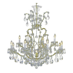 "Inviting Home - Maria Theresa Crystal Chandeliers (Premium Crystal), Premium Crystal - clear and gold Maria Theresa style crystal chandelier; 40"" x 44""H (13 lights); assembly required; 13 light premium clear crystal chandelier with hand-molded arms and cut crystal components and trimmings; all metal parts have gold finish; genuine Czech crystal; * ready to ship in 2 to 3 weeks; * assembly required; This chandelier is a part of Maria Theresa Collection. At their start the chandeliers bearing the name of Maria Theresa were made on the occasion of the Empress's coronation as queen of Bohemia in 1743. This fact is hidden in the shape of these lighting fixtures reminiscent of the royal crown. Their characteristic feature is the arms' typical flat surface clad with glass bars. The bars are fixed to the arms by glass rosettes and beads with dangling cut crystal chandelier trimmings. These ravishing fixtures were inspired by a chandelier made for Maria Theresa in Bohemia in the mid 18th century. However not only the empress became fond of it; so did many others who fancied the style and the majestic manners after her. Typical elements are metal arms overlaid with glass bars and decorated with crystal rosettes. Originally the trimming was made of typical flat drops called ""pendles"". Today trimmings of various shapes are used. Premium crystal. A sumptuous type of chandelier trimmings. Fire of the rainbow spectrum brilliance limpidity glitter and perfect scattering and dispersion of light - these are their main features resulting from precise cutting using electronically controlled machines but also from high quality crystal containing more then 30% of lead. Traditional mastery and the revealed mystery of the glass substance blend together with modern technologies and first-rate design in each of these unique pieces. Chandeliers dressed with these trimmings of exceptional beauty will lend an air of grandeur to the ambiance even of the most prestigious interiors. The tradition of production luxurious appearance and classical morphology are the common denominator of all these chandeliers. To manufacture these almost 90 percent is hand-completed: mouth-blowing cutting and other techniques applied when working glass and metals. Machine-cut crystal chandelier trimmings and artistically chased metal parts provide a stamp of luxury. Devotees of these lighting fixtures come mostly from the circles of the lovers of magnificent designs created in the style of the timeless classic. Every component passes thorough strict internal Quality Control processes. Highest quality European production with certified standards. UL approved - dry location; hardwire; 13x E12/14 - 40W bulbs; bulbs not included. 3 to 4 feet chain drop provided. Hand crafted in Czech Republic."