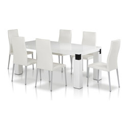 "VIG Furniture - Escape 71"" White High Gloss Veneer Finish Dining Table With Black Accents - The Escape dining table is a great addition for any dining room looking to add a modern touch to it's decor. This dining table is crafted with a wood top in a white high gloss veneer finish. The table comes with a standard size of 71"" making it perfect for normal sized gatherings. The table features a stylish square leg design that are accented with black details. The price shown includes the table only."